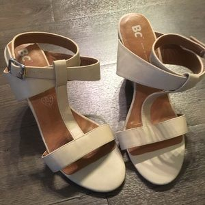 BC California Nude Wedge Strappy Sandals
